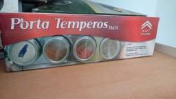 PORTA TEMPEROS INOX COM IMÃ E SUPORTE DE METAL