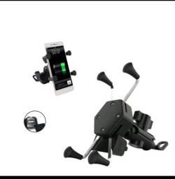 Título do anúncio: Suporte moto para celular/ suporte celular usb/ suporte USB/ suporte com carregador