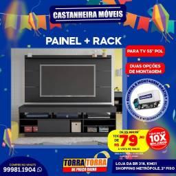 Painel Slim, p/ Tv's de até 55' polegadas + Rack, 10x  de R$ 79,90, sem Juros!