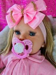 Boneca Bebe Reborn Loira + Enxoval 20 Itens Menina Barata Lol - Carinha De Anjo