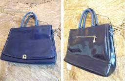 Bolsa azul vinílico - Adriane Galisteu