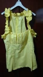 Título do anúncio: Blusa Acinturada, Amarela em Algodão - Tamanho M