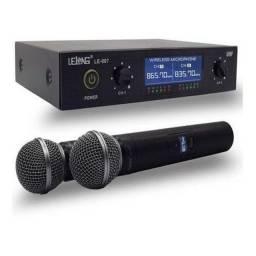 Microfone Profissional Duplo Sem Fio Dinâmico Lelong Le-907