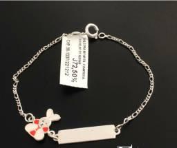 Pulseiras infantis femininas em prata
