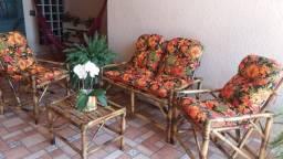 Jogo de Sofá de Bambu Completo Promoção Fábrica Móveis Poltronas cadeiras kit conjunto
