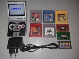 Game Boy Advance SP com mod de tela IPS + 8 Cartuchos