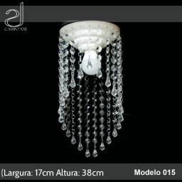 Lustre Cristal Acrílico Redondo Altobrilho 17x38cm Campo Xxi