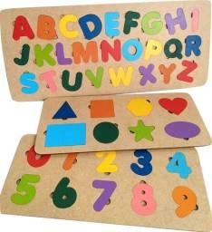 Tabuleiro Educativo Pedagógico em MDF (Kit Alfabeto+Números+Formas)