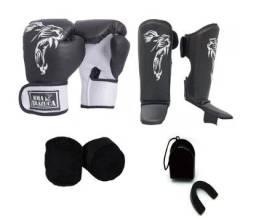 Kit Boxe Muay Thai Luva Caneleira Bandagem Bucal Brazuca Preta 10oz