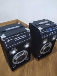 Troca por celular maior valor caixas Stereo 130w rms função Karaoke Mic in e aux in Ok