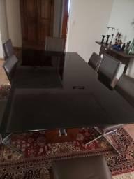 Mesa para 8 lugares vidro preto