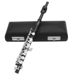 Flautim Flauta Piccolo Slade EUA preto com chaves niquelado