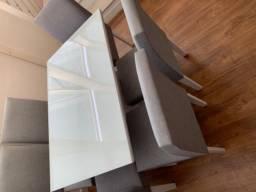 Conjunto mesa jantar 6 lugares MDF branco Pampulha Leifer Usada
