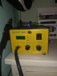 Estação de ar quente e fonte de celular