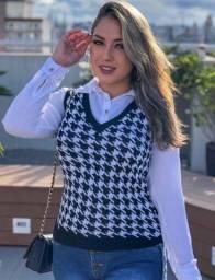 Colete tricô estampa PIED