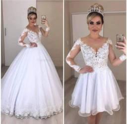 Título do anúncio: Vestido de Noiva Azaleia 2x1 Dayara Oliveira
