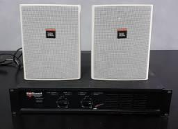 Par de Caixas JBl modelo Control 25 com suporte + amplificador hotsound hs 300 sx