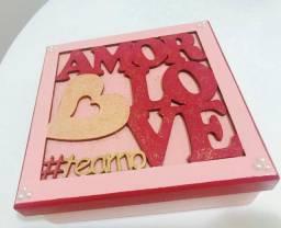 Caixa Love Amor Decorada em MDF com tampa - Pintura