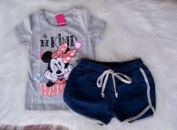 Conjunto Infantil Cativa Disney Menina T-shirt Short Moletom