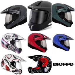capacete bieffe 3 sport cross com viseira promoção