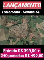 Super lançamento de lotes em Serrana, pronto para morar, 410 m2, entrada R$ 399,00 e saldo