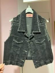Colete jeans preto, aberto, novo