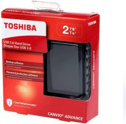 HD Externo Portátil Toshiba Canvio Advance 2TB Preto ou Azul USB 3.0