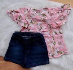 Conjunto Infantil Colorittá Menina Blusa Fashion Short Jeans