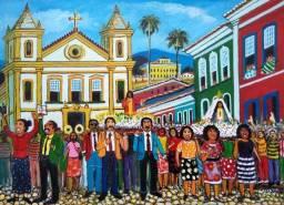 Título do anúncio: Belo Quadro, Pintura decorativa em acrílica sobre tela 0,50x0,70 Artista Calixto Sales.
