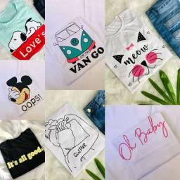 T-shirt Estampadas 100% Algodão Moda Feminina