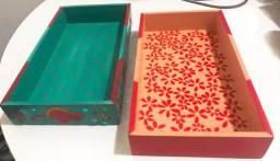 Caixa Retangular Decoupage e Pintura em MDF - Arte em Decoração