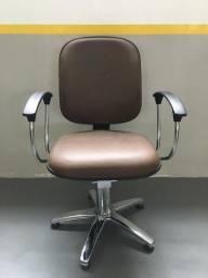 Cadeira Cabeleireiro Marrom Hidráulico Novo