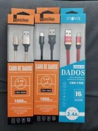 Cabos de excelente qualidades, iPhone, USB C e V8 (Micro usb)