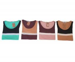 Kit Com 4 Camisas Viscolycra Feminina Tamanho M