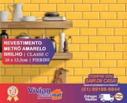 Revestimento Metrô Amarelo Brilho - comercial - 26 x 12,5cm