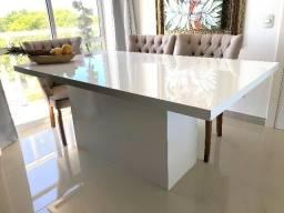 Mesa de Jantar Laca Auto-Brilho Branca MDF