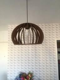 Lustre luminária pendente de madeira com soquete E-27 de 39cm