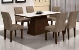 * Mesa de Jantar Luna com Tampo de Vidro e 6 cadeiras - Novo e com Garantia