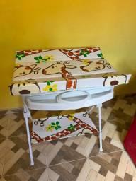 Banheira Suporte Trocador Bebê Luxo Galzerano
