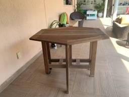 Mesa dobrável de madeira portátil