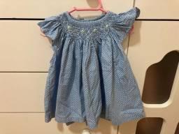 Vestido bebê poá azul claro tam p