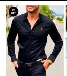 Camisa slim preta M