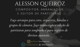 Transcrição e edição de partitura, arranjos para coro, banda e orquestra.