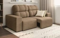 Sofá Linoforte Versalhes assento retrátil e encosto reclinável com tecido suede