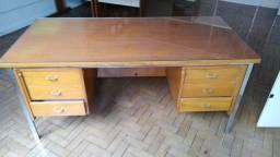 Mesa escritório 6 gavetas madeira