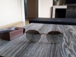 Óculos dobrável dourado espelhado Ray Ban original