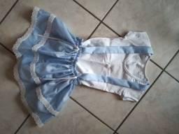 Vestido infantil festa junina / caipira azul - promoção relâmpago