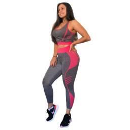 Conjunto Fitness Ginástica Feminino Yoga Pilates Fashion Top e Calça