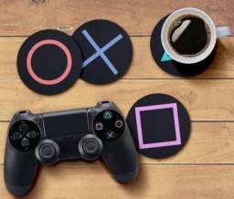Porta Copos - 4 peças - Gamer com os botões controle Sony Playtation 5 Ps5 - Lavável
