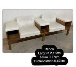 Banco/Sofá de Madeira Branco